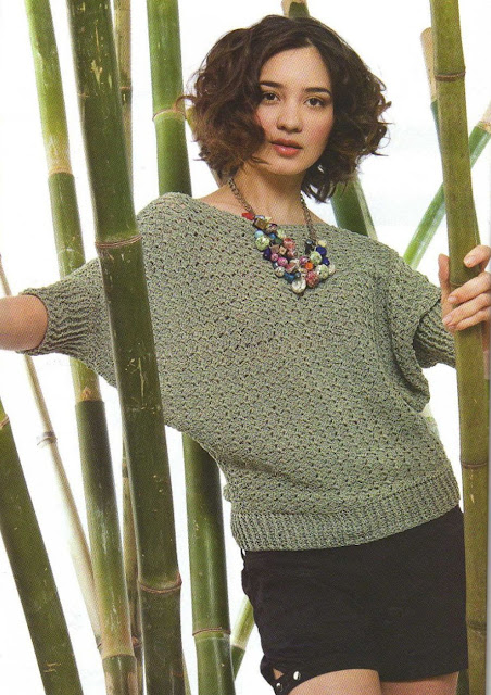 #682 Esquema de Blusa con mangas murciélago a Crochet