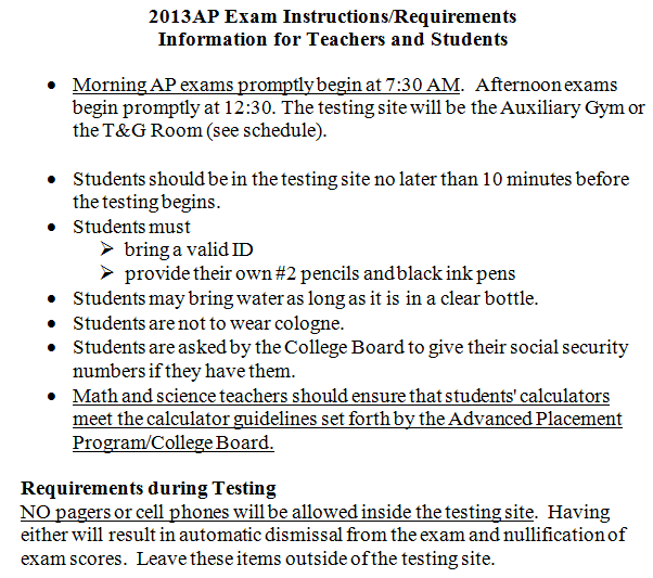 exam instructions for students