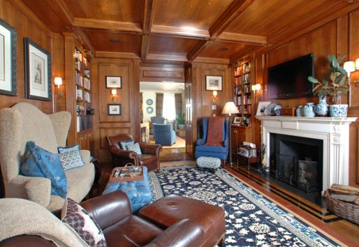 interior living room of benjamin mansion rental property in boston beacon hill area