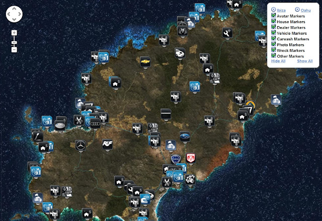 Test Drive Unlimited 2 Map Locations