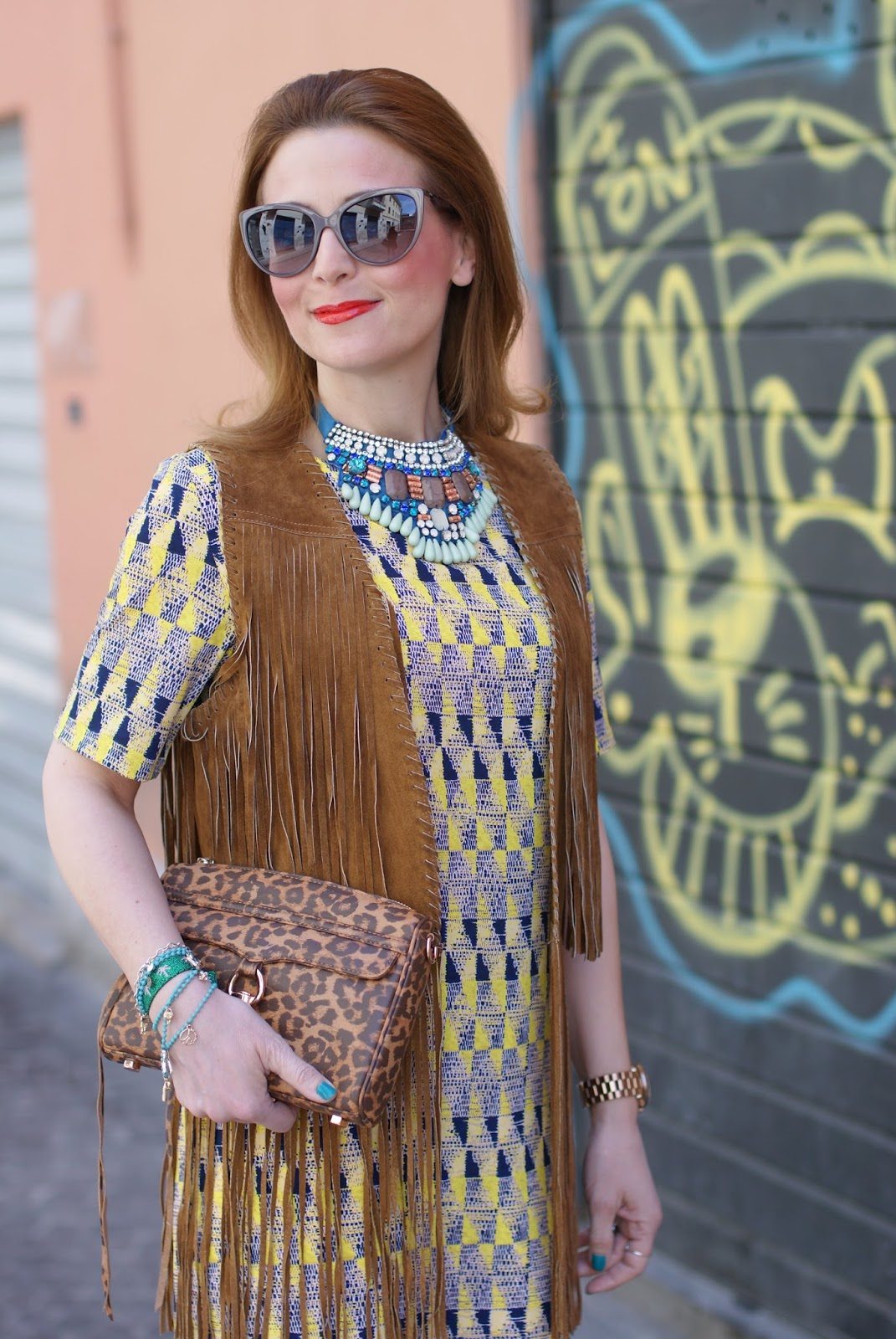 Western chic style, Zara fringe vest, Paramita Chibum dress, SimonaB Bijoux necklace, Rebecca Minkoff MAC leopard bag on Fashion and Cookies fashion blog, fashion blogger style