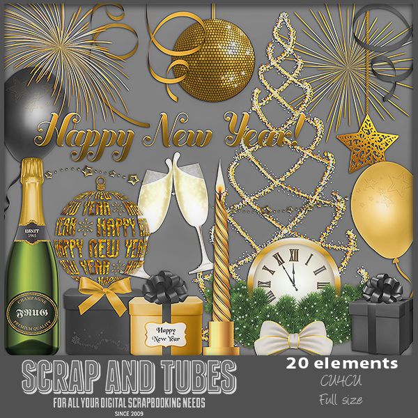 New In Stores New Year Elements 5 Fscu4cu Scrap And Tubes Designs
