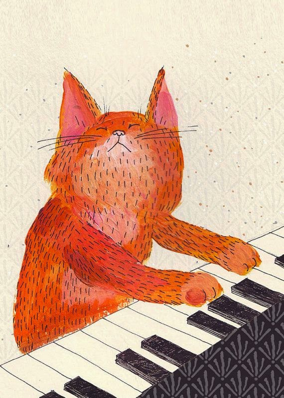 big red cat playing the piano illustration by Luka Va