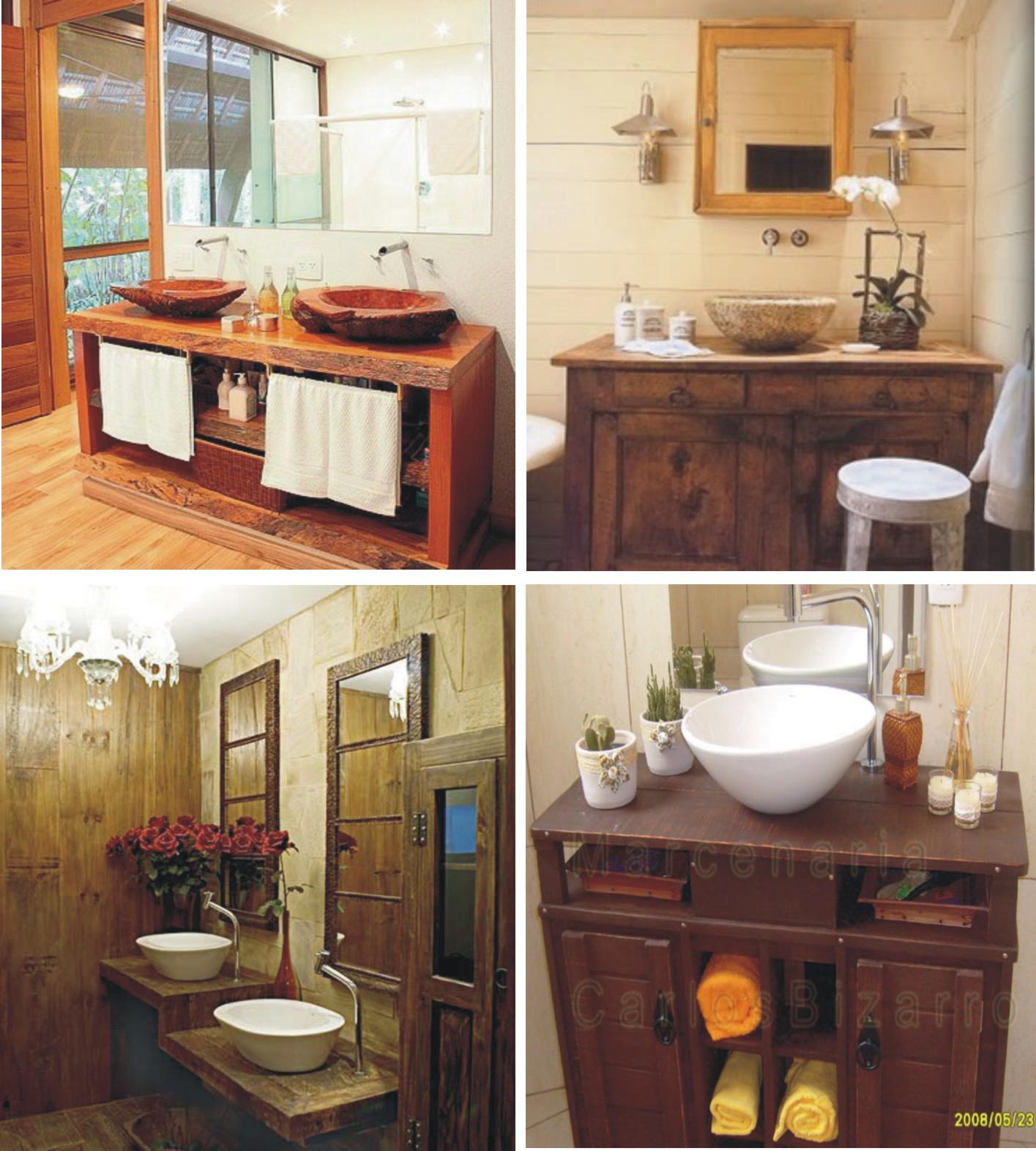 decoracao banheiro rustico