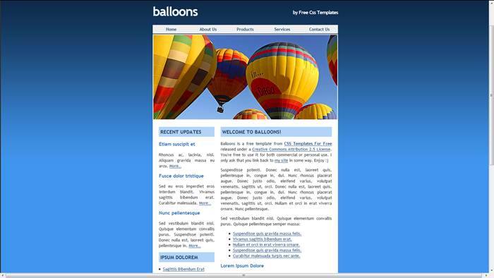 Balloons Free CSS Web Template