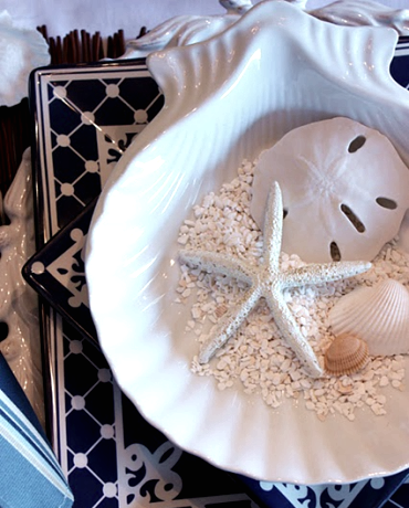 blue and white nautical tablescape