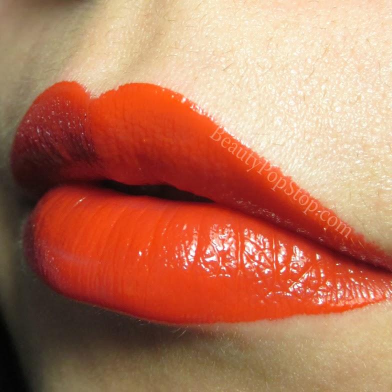 lipstick queen vesuvius liquid lipstick coral swatch