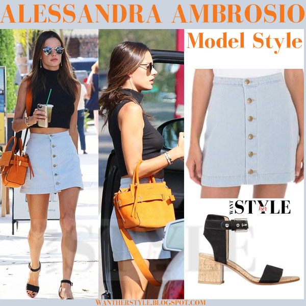 Alessandra Ambrosio in light blue button a line american apparel mini skirt, black crop top and black ankle strap sandals what she wore models off duty