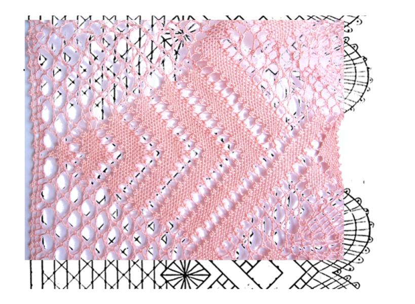 fotomontaje punto tejido o entero  sobre esquema-picado puntilla número 2 con esquina de encaje de bolillos