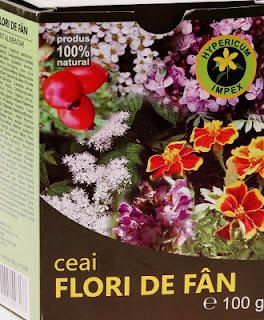 Imagine cu cutia ceaiului flori de fan, din 30 de plante medicinale. Click pentru detalii