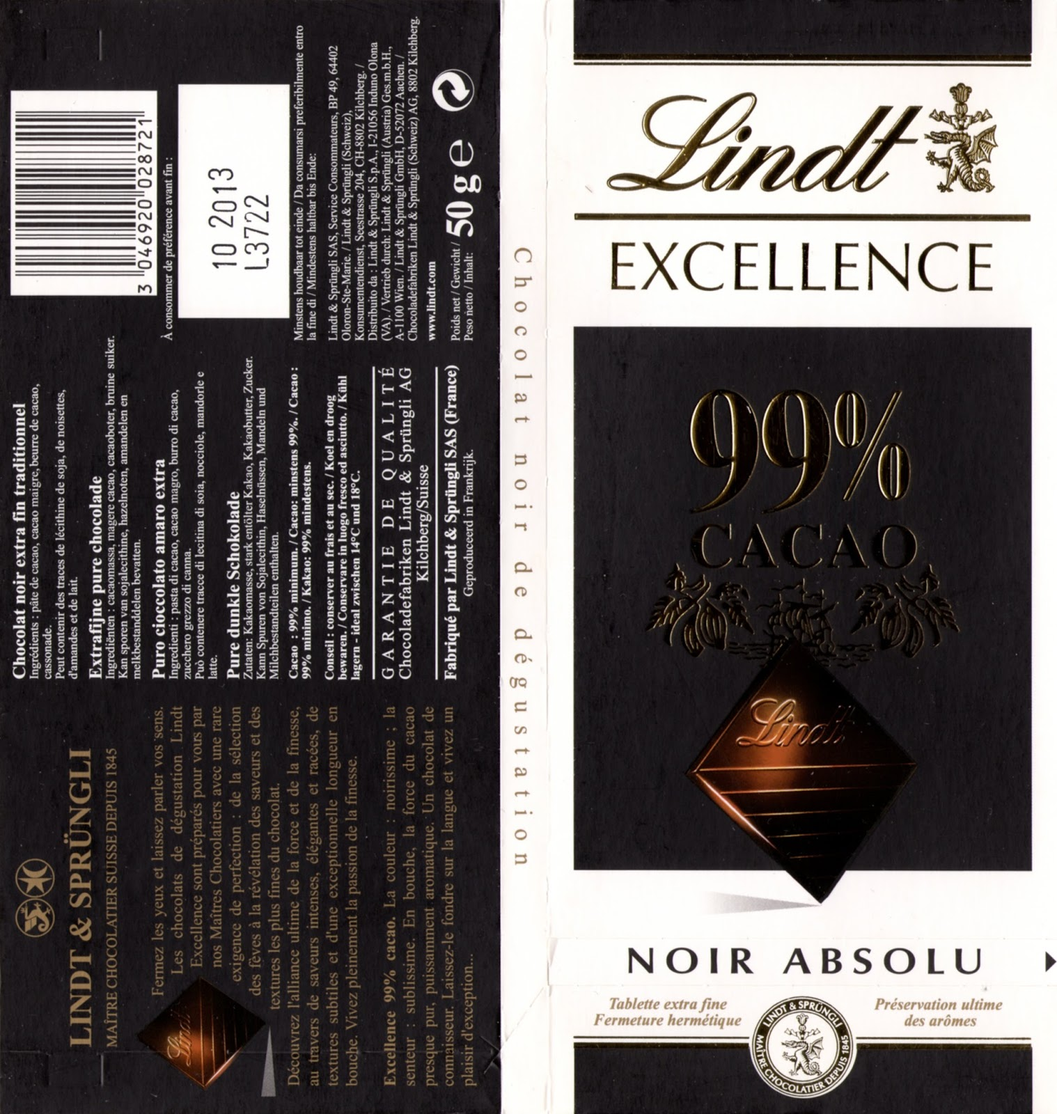 tablette de chocolat noir dégustation lindt excellence 99