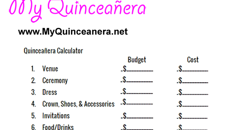 photo relating to Printable Quinceanera Checklist identify My Quinceañgeneration: Spending budget Calculator
