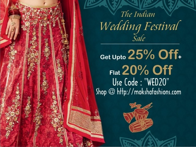 Flat 20% Discont on Designer Wedding Sarees