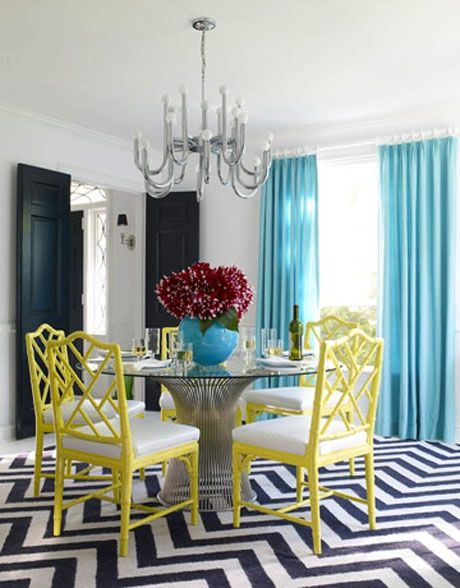 bright cheerful dining room stripy rug
