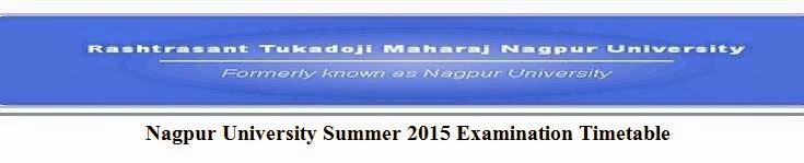 Nagpur University Summer 2015 Examination Timetable