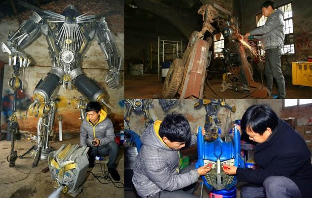 Proses pembuatan Robot Transformer dari Besi Bekas