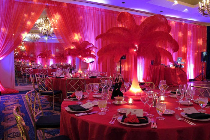 Ostrich feather centerpiece rental