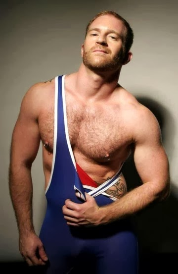 Adam Faust Stripping Wrestling Singlet