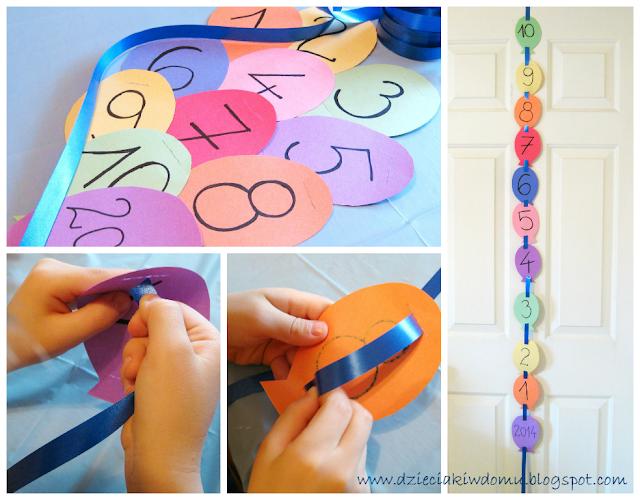 kreatywne odliczanie od 10 do 1 girlanda dla dzieci, dekoracja na nowy rok