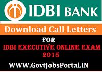 IDBI Bank Call Letter 2015