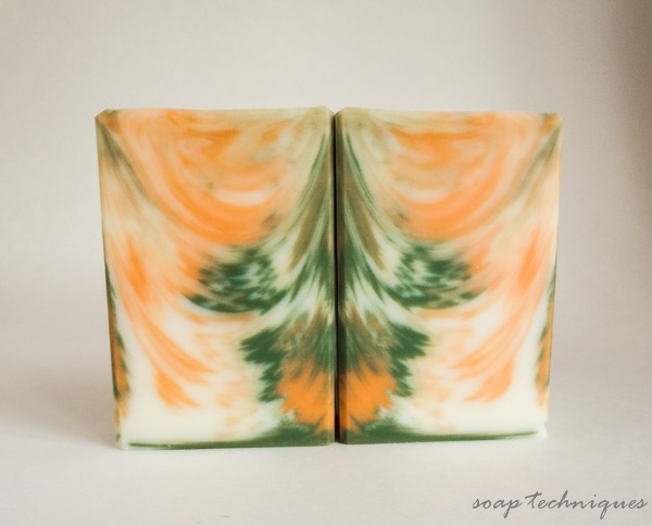 in-the-pot swirl soap - feathered ITP swirl