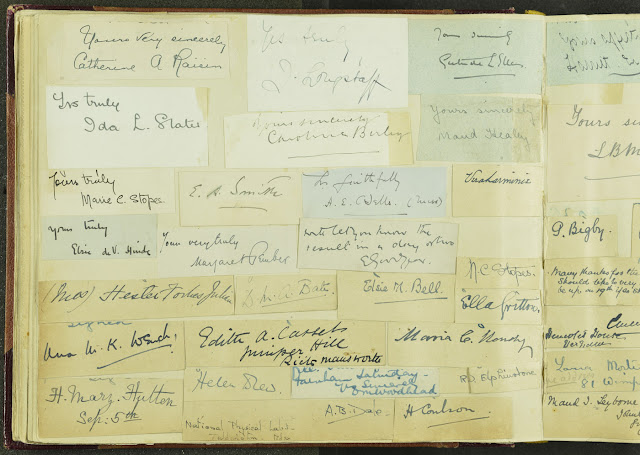 Signatures from an album in the Geologists' Association Carreck Archive. The signatures are all women members.