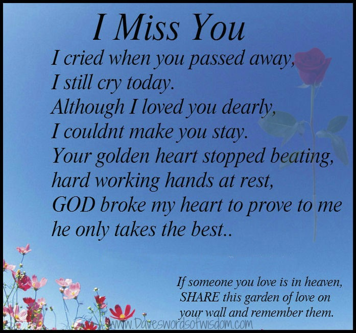 I Will Miss You Poems For Grandma