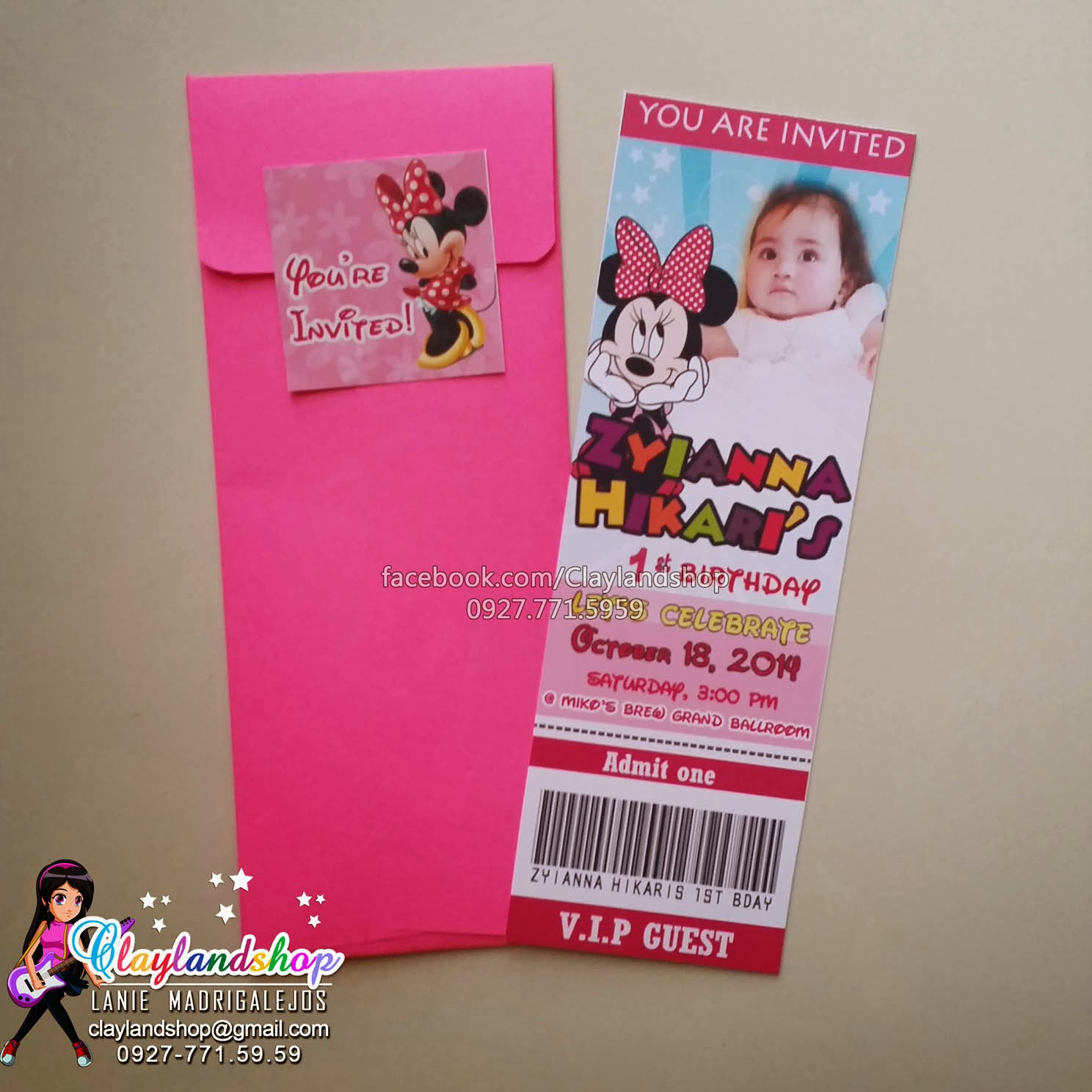 Clayland Souvenir Shop Minnie Mouse Ticket Type Invitataion