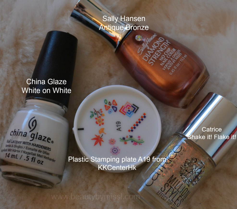 China Glaze White on White, plastic stamping plate A19, Catrice Shake it! Flake it!, Sally Hansen Antique Bronze