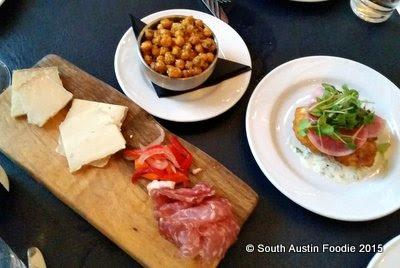 Juliet Restaurant Austin -- chick peas, salumi, corn fritter