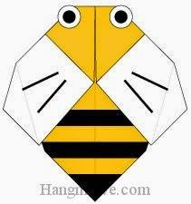 Bước 8: Vẽ mắt, cánh để hoàn thành cách xếp con ong bằng giấy origami đơn giản.