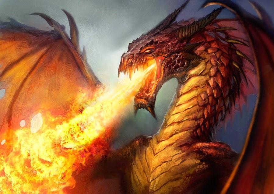 Fire-breathing dragon art