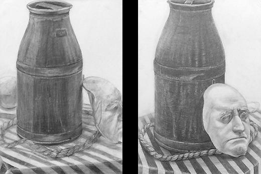 横浜美術学院の中学生教室 美術クラブ のびのび描こう!鉛筆で描く「静物デッサン」10