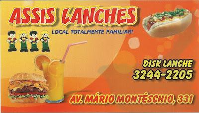 ASSIS LANCHES .localização AV. Mário Monteschio 331 JD. Pioneiro, Disk Entrega 3244-2205