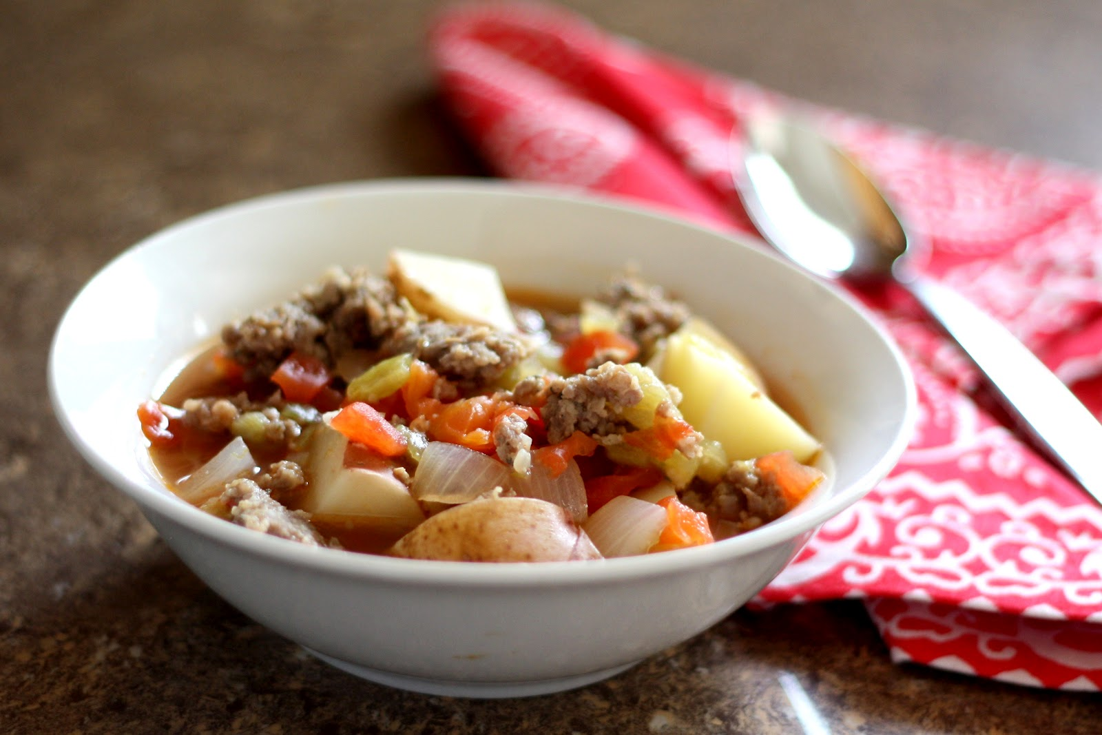 Barefeet In The Kitchen: Green Chili Stew with Sausage and Tomatoes