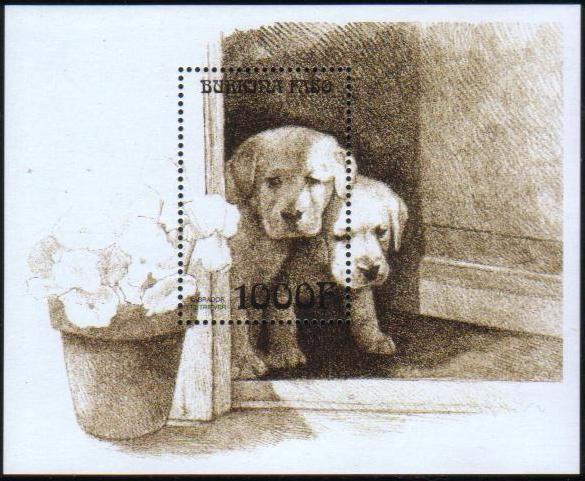 1999年ブルキナファソ ラブラドール・レトリーバーの子犬2匹の切手シート