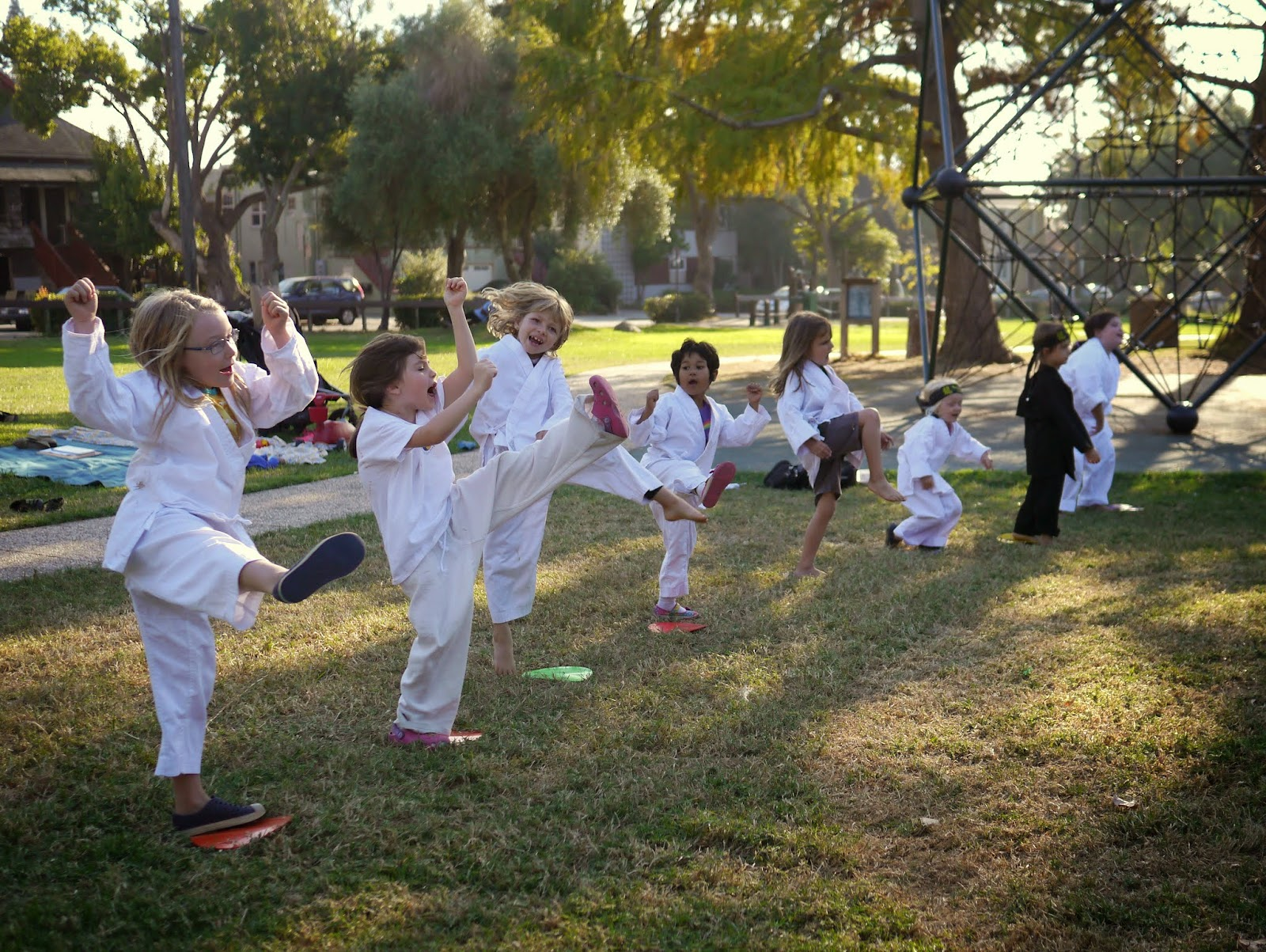 half of the class were testing for the same belt as ava so part way through the test they worked on a few harder moves while the younger kids watched