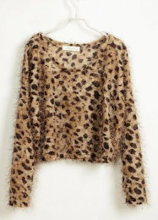 Leopard Furry Long Sleeve Sweater