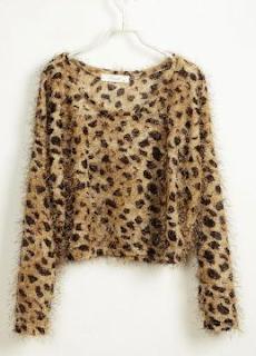 Leopard Furry Long Sleeve Sweater