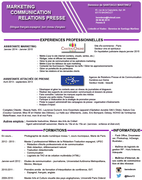 berenice de santiago   en recherche active d u0026 39 emploi