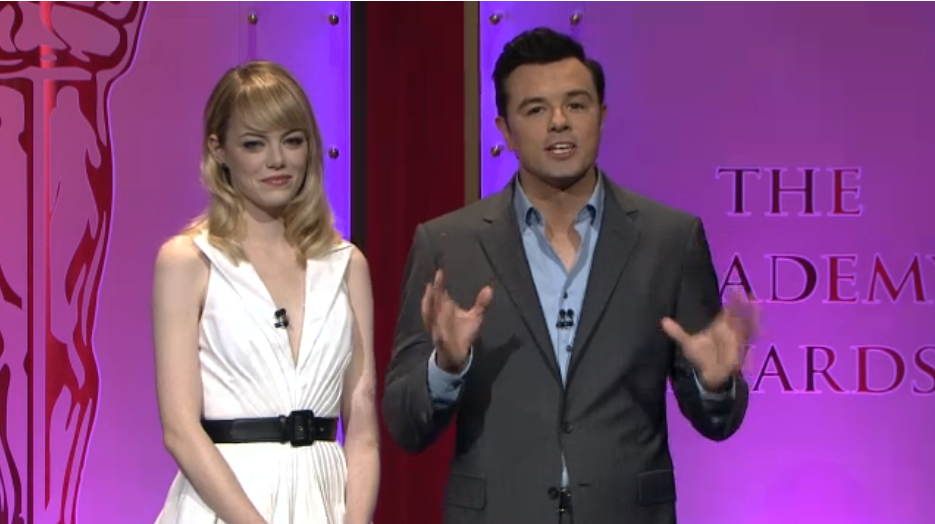 Oscar nomination host Seth MacFarlane and Emma Stone