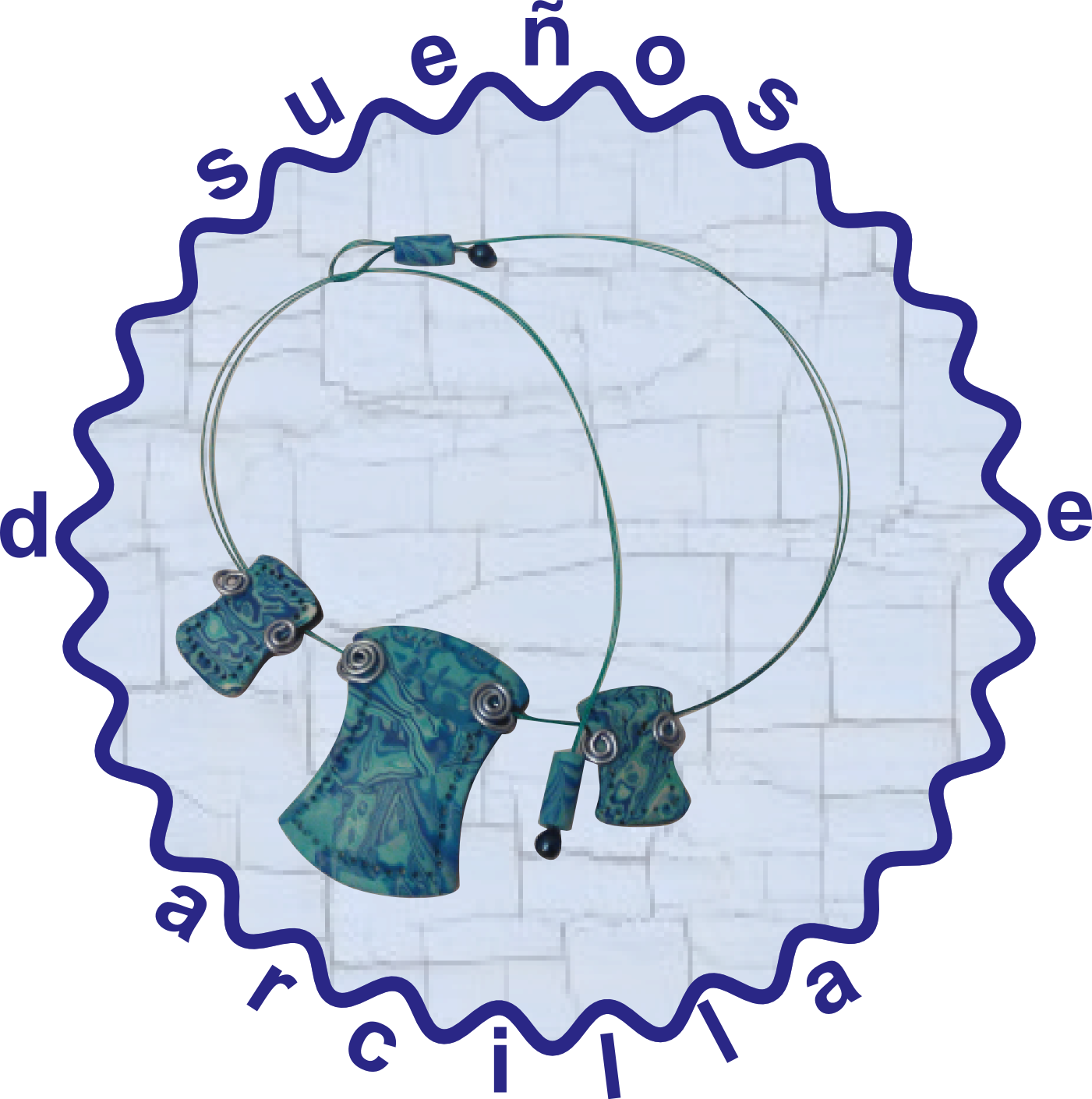 colgante mokume gane en azul