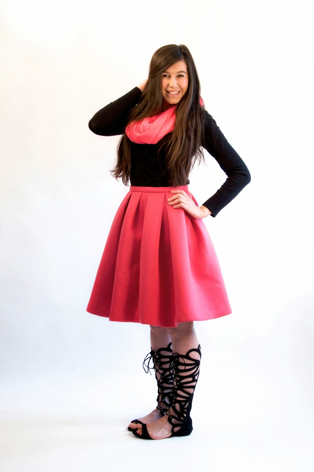 a line skirt, aline skirt, asymmetrical skirt, choies, choies skirt, pink pleated skirt, pink poofy skirt, pink skirt,