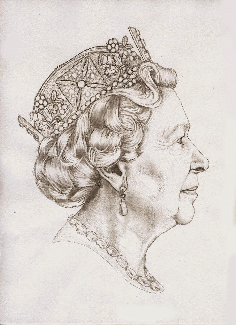 Sketch for Queen Elizabeth's fifth coin portrait