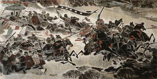 Ilustração retratando uma antiga batalha chinesa, com cavalos, lanças e estandartes