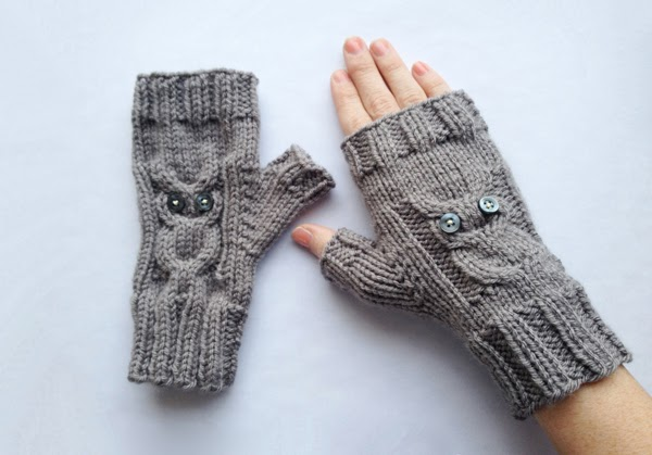 handmade owl cable knit fingerless gloves by cocococoa on etsy