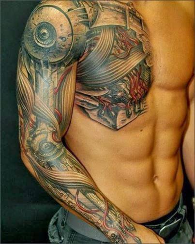 Tattoo braço e peito fechado vários desenhos