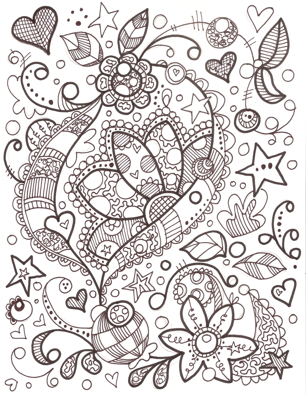Girly Doodle Colouring Pages Pinterest