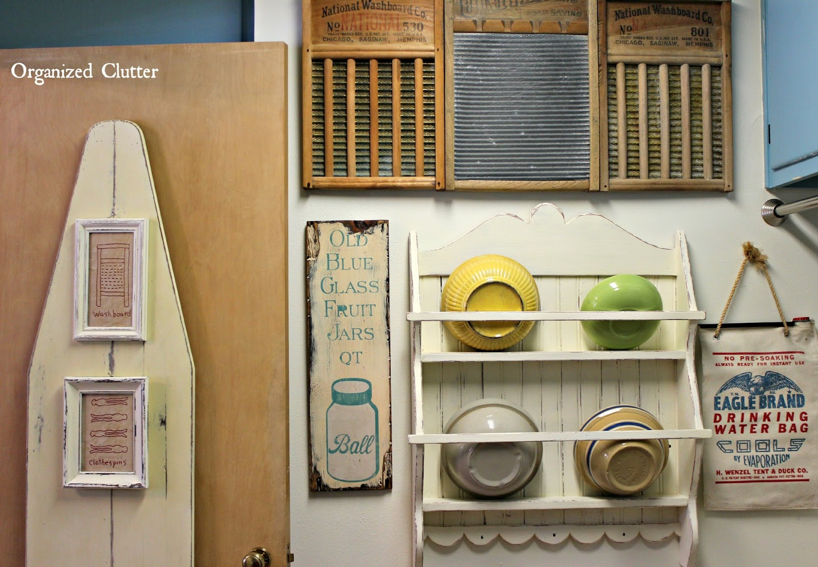Farmhouse Vintage Laundry Room Decor www.organizedclutterqueen.blogspot.com