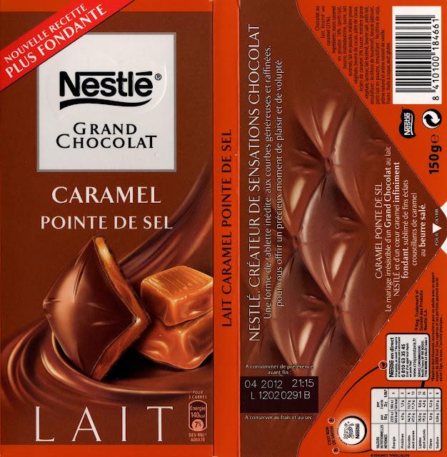 tablette de chocolat lait fourré nestlé grand chocolat caramel pointe de sel